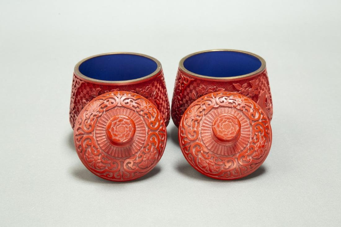A PAIR OF CHINESE LACQUER CINNABAR TEA CANDY & COVER - 5