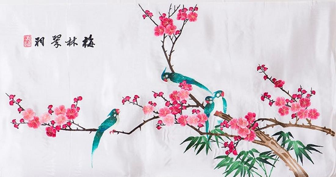 THREE CHINESE EMBROIDERIES ON SILK