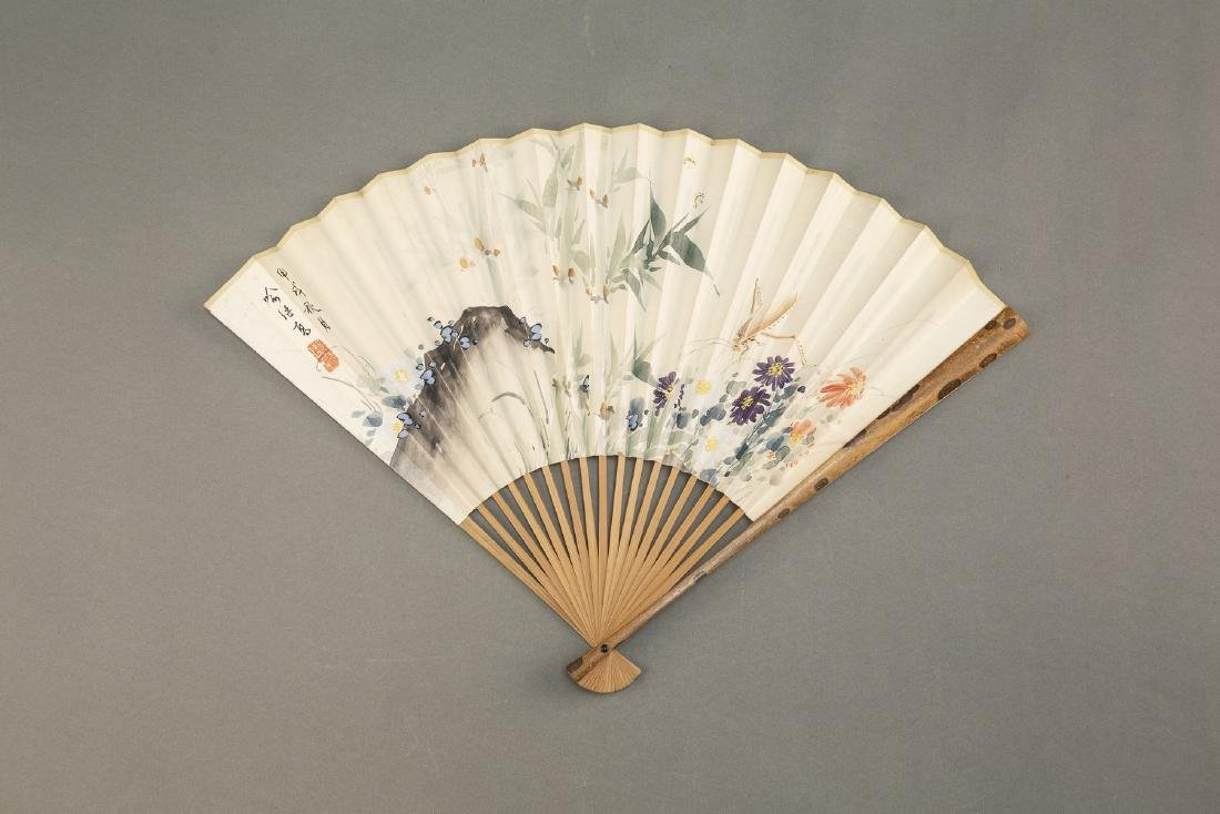 QI GONG AND YU JIGAO, CHINESE FOLDING FAN