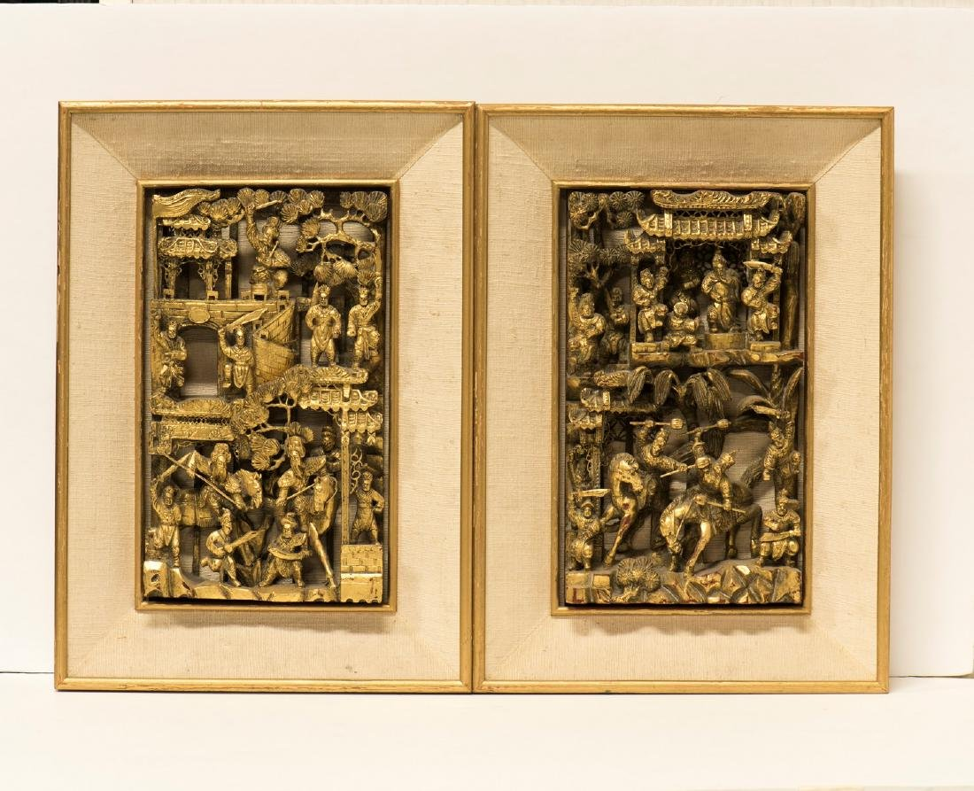CHINESE LACQUER WOOD PANELS, FIGURES