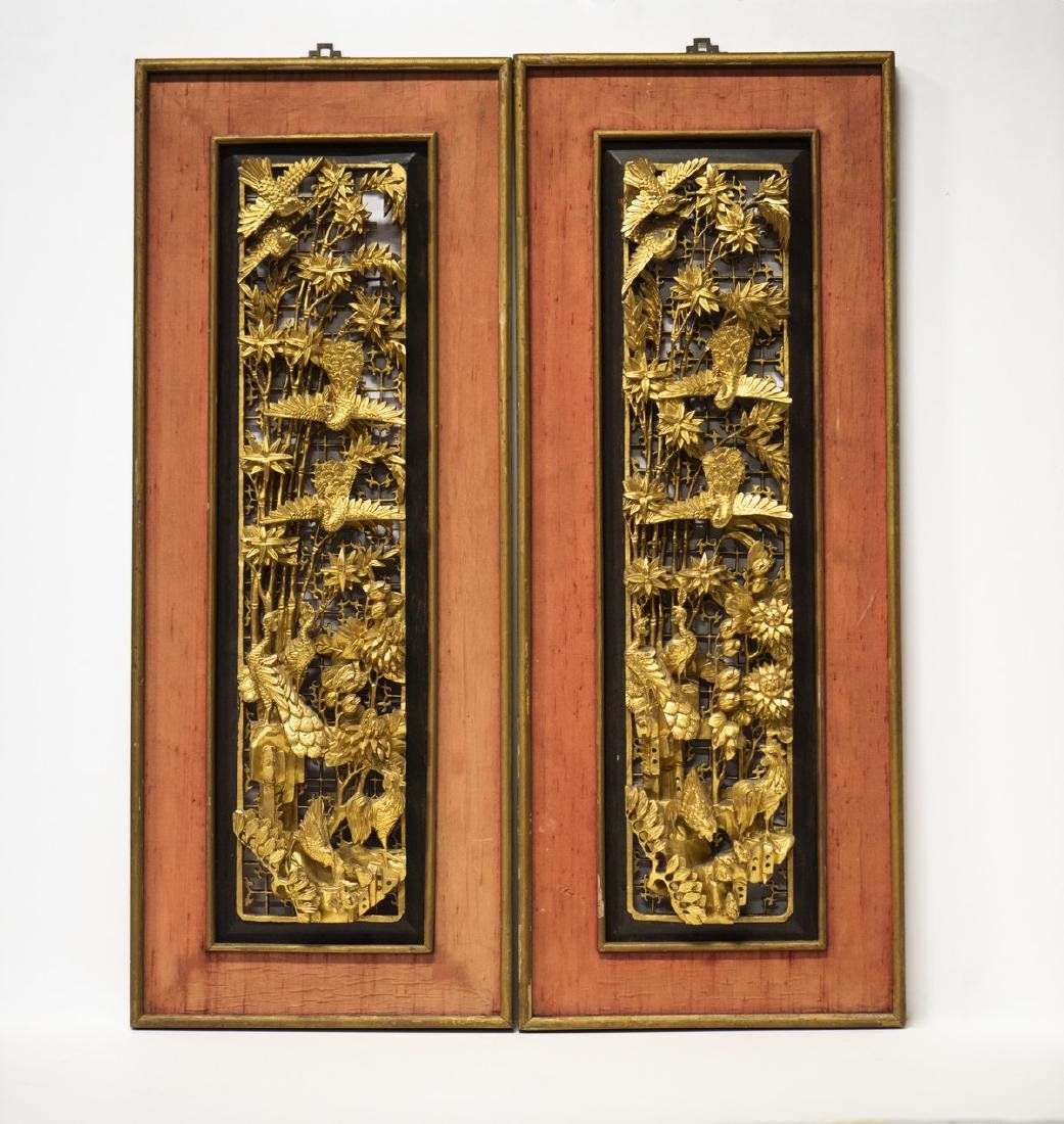 CHINESE LACQUER WOOD PANELS, BIRDS & FLOWERS