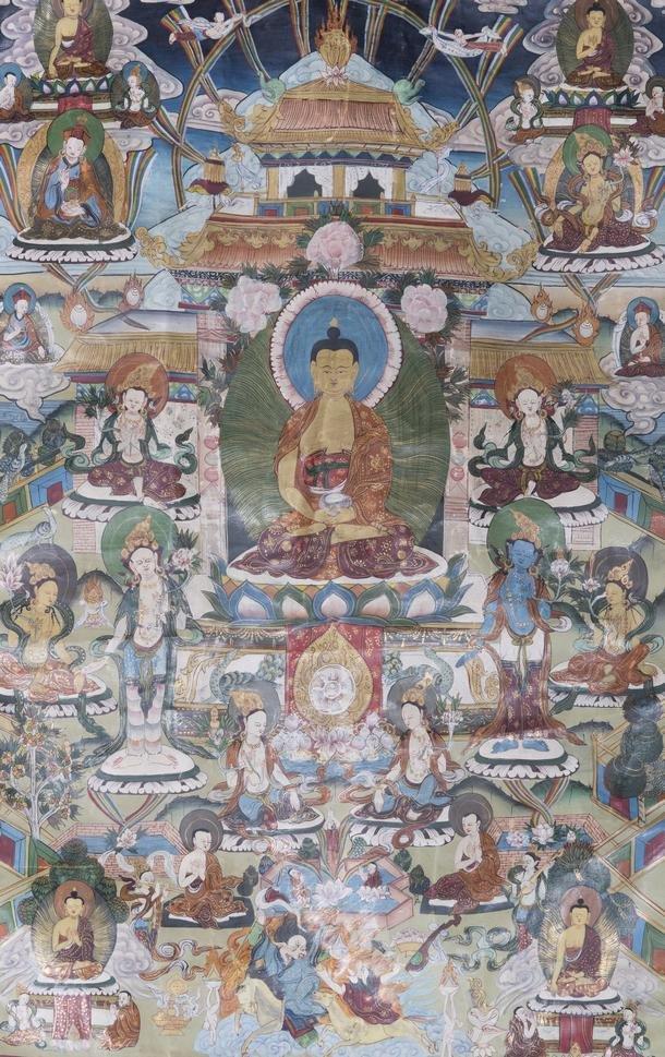 A THANGKA OF SHAKYAMUNI BUDDHA, QING DYNASTY