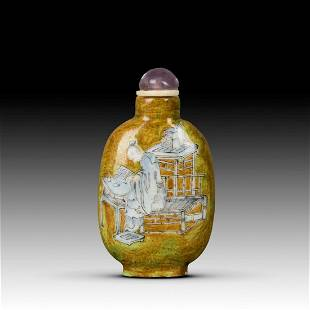 A FAMILLE ROSE FIGURE SNUFF BOTTLE QING DYNASTY