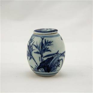 A BLUE WHITE ORCHID WATER POT WITH LID