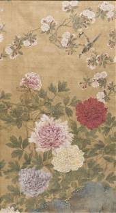 FLOWER AND BIRD MIDQING DYNASTY