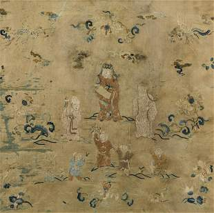 A CHINESE EMBROIDERED SILK OF FIGURE