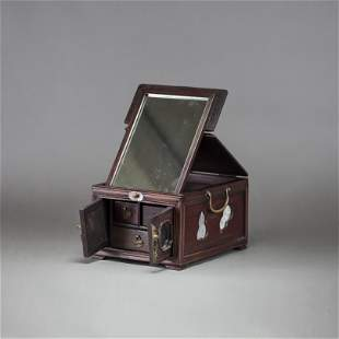 A WOOD COSMETIC BOX AND MIRROR