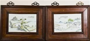 CHINESE LANDSCAPE PORCELAIN PLAQUE PAIR, QING PERIOD