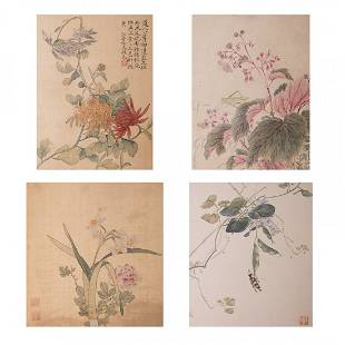 LOT OF 4, ANONYMOUS, FLOWER