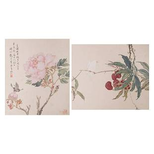 LOT OF 2, ANONYMOUS, FLOWER AND BIRD