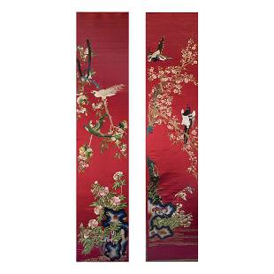 LOT OF 2, CHINESE SILK EMBROIDERED HANGINGS