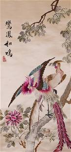 A CHINESE SILK EMBROIDERED PHOENIX HANGINGS