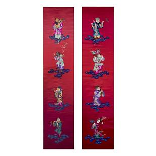 LOT OF 2, A PAIR OF CHINESE SILK EMBROIDERED 'EIGHT