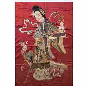 A CHINESE SILK RED-GROUND EMBROIDERED IMMORTAL LADY