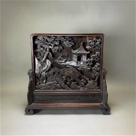 A CARVED ZITAN TABLE SCREEN AND STAND, QIANLONG PERIOD