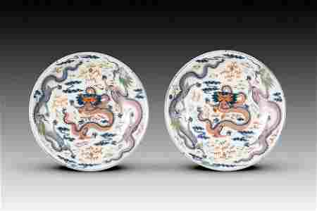A PAIR OF LARGE DOUCAI 'DRAGON DISHES, QING DYNASTY