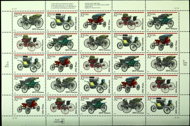 1995 Limited-edition  Antique auto stamp print