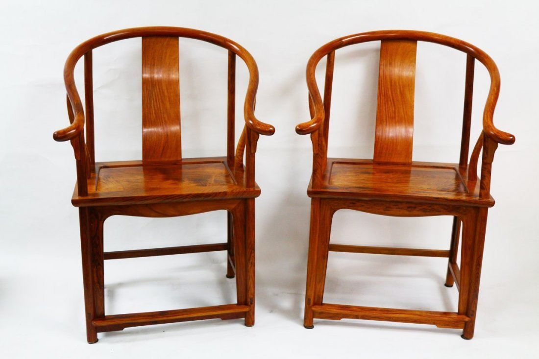 A Pair of Huanghuali Armrest Chairs