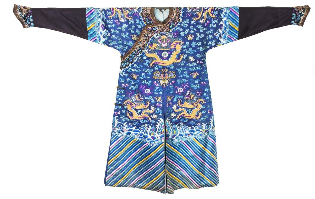 Chinese Blue Silk Embroidered 'Dragons' Robe
