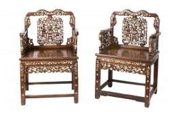 Pair of Chinese Hardwood Armchair, MOP, 19th century