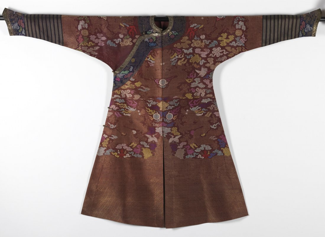 Chinese Gold-Embroidered Red Silk Dragon Robe