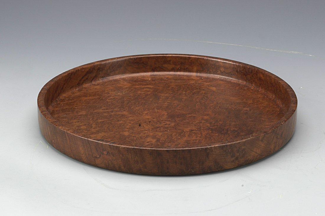 Chinese Burl wood Round Tea Tray