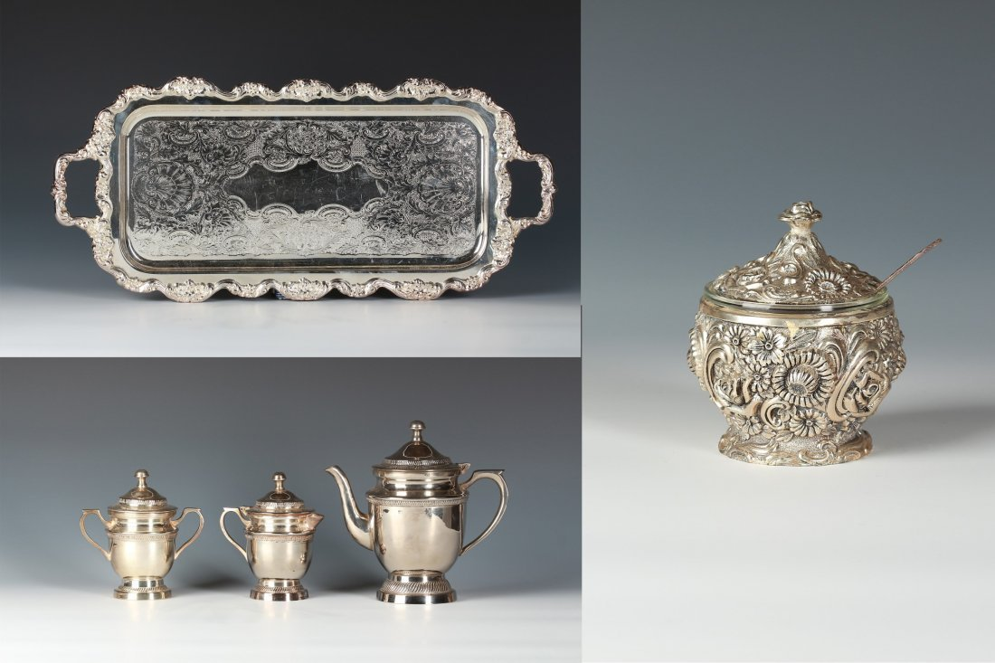 large Silver Tray with handle; Three pieces of Silver