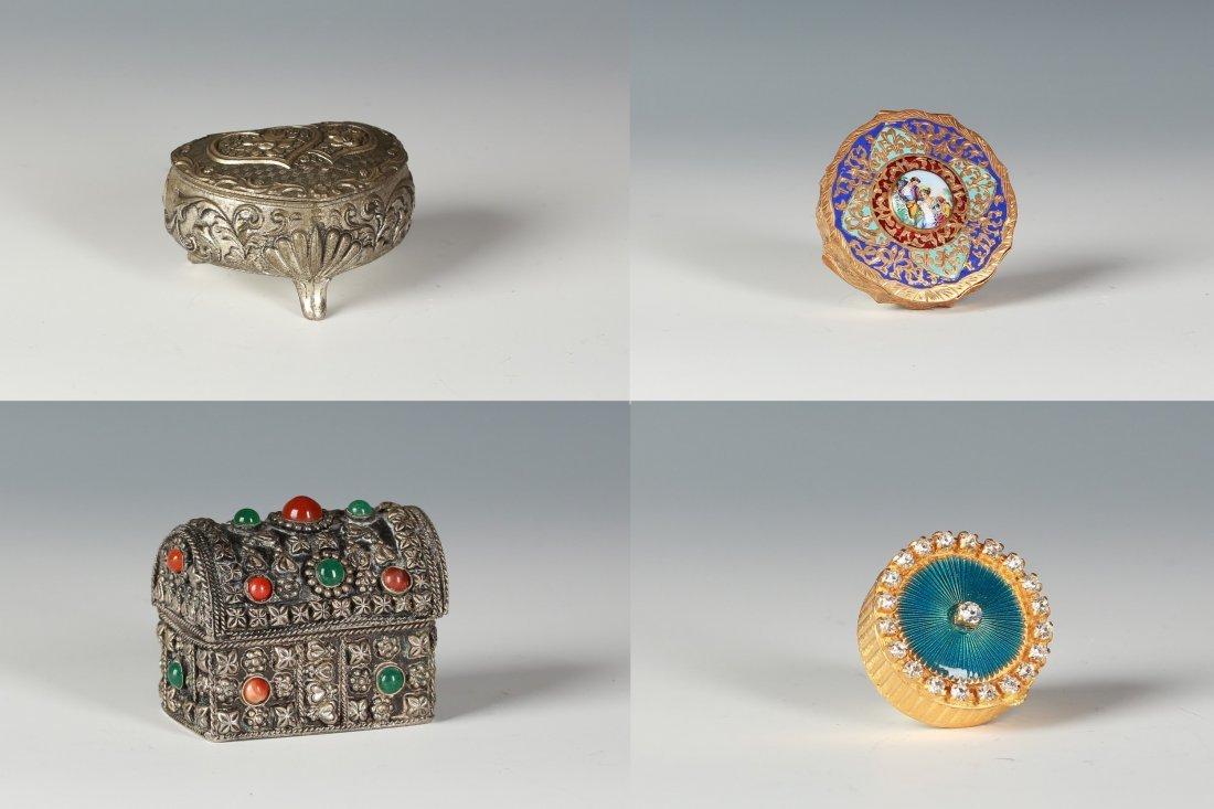 Silver jewelry box & Gilt Brass powder box