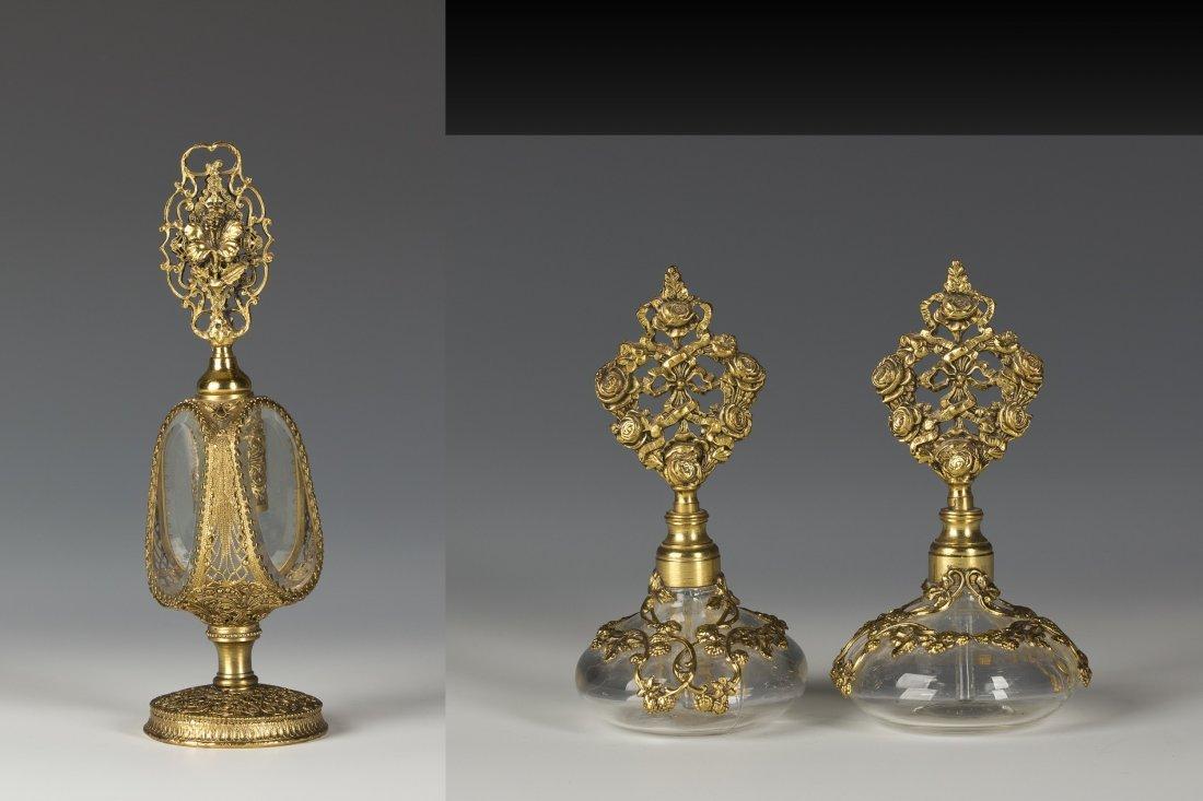 Gilt Brass and Glass Perfume bottles