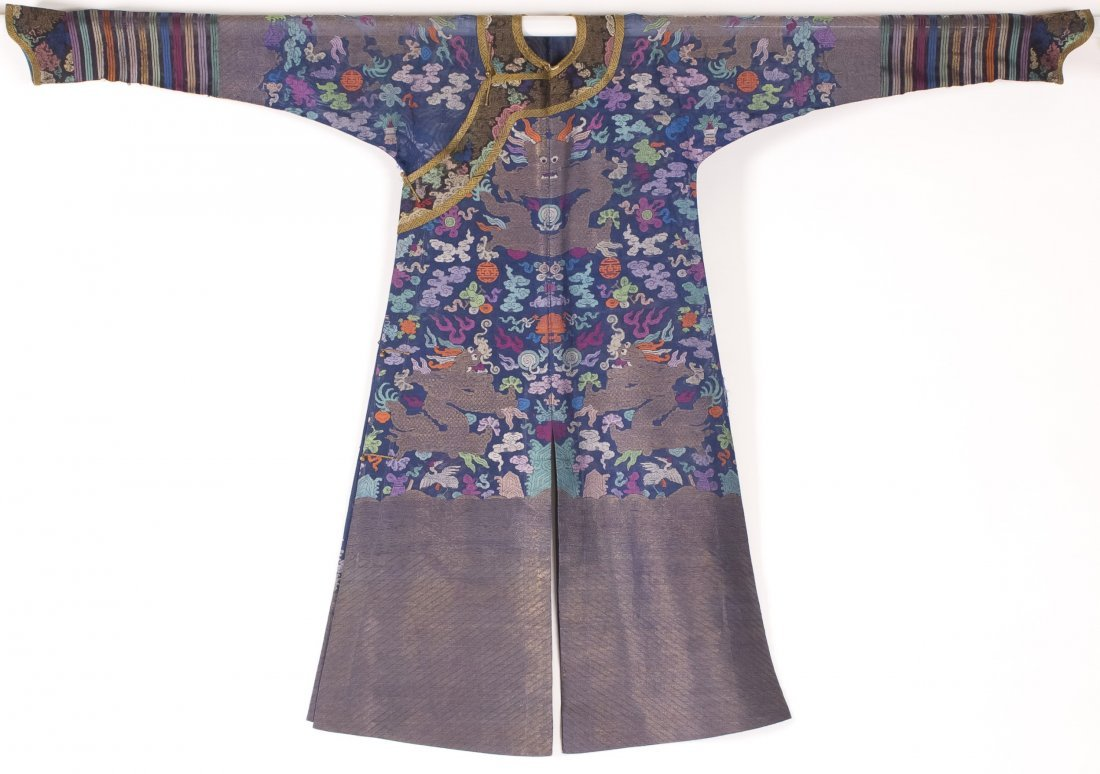 Chinese Blue Silk Embroidered Dragon Robe