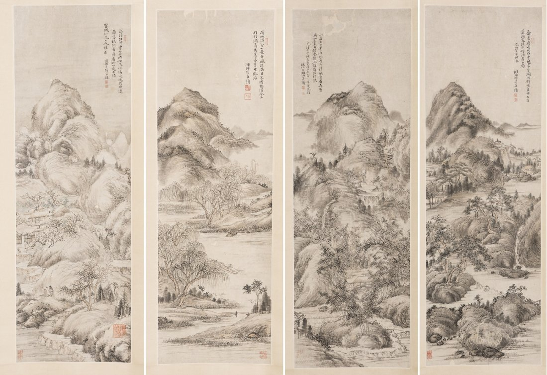 A GROUP OF FOUR SCROLL PAINTINGS