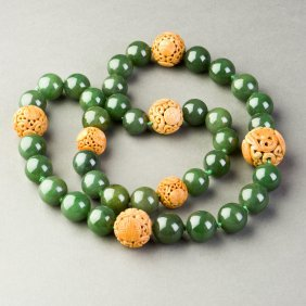 A Jade-beaded Necklace