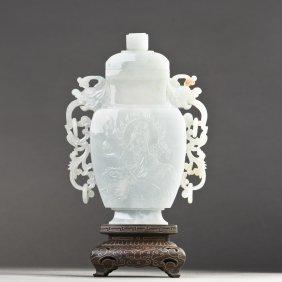 A Chinese Jadeite Jade Vase Of Baluster Form