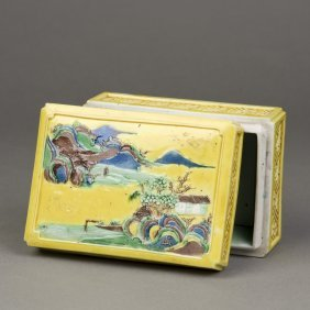 A Yellow Ground Porcelain Ink Box
