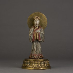 A Gilt-wood Figural Sculpture With Base