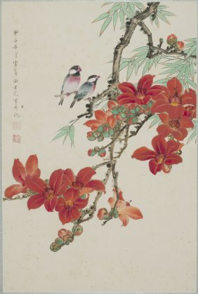 A Chinese Painting Of Floral And Avian Motif, After