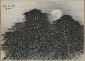 A Chinese Scroll Painting Of Pine Tree Motif, After Li