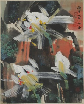 A Chinese Scroll Painting Of Lotus Motif, After Huang