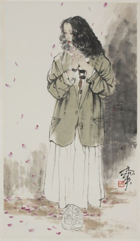 A Chinese Scroll Painting Of Female Portrait, After He