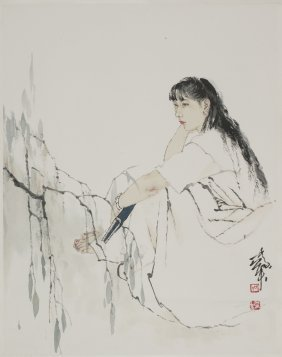 A Chinese Scroll Painting Of Figural Motif, After He