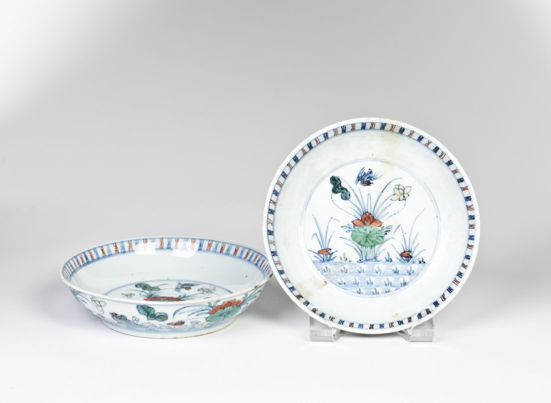 TWO 'FLOWER' PORCELAIN PLATES