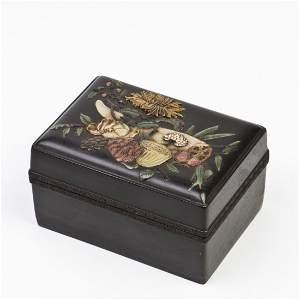 A ZITAN BOX INLAID WITH PRECIOUS STONES