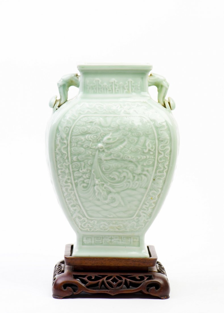 A GREEN GLAZE WITH DOUBLE TRUMPET-MOUTH 'DRAGON' VASE ,