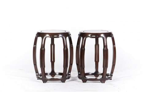 A PAIR OF HARDWOOD OLD STOOLS