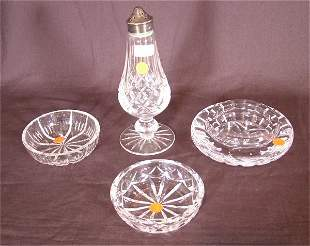 4 PC WATERFORD CRYSTAL INCL FTD SALT SHAKER 6 1/2