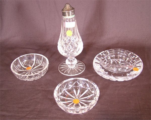 3102: 4 PC WATERFORD CRYSTAL INCL FTD SALT SHAKER 6 1/2