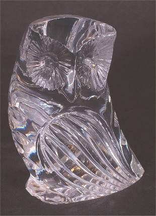 """WATERFORD CRYSTAL OWL PAPERWEIGHT 3 1/2""""H"""