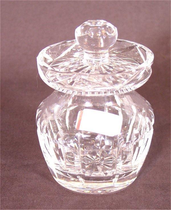 """3105: WATERFORD CRYSTAL MUSTARD JAR 4""""H"""