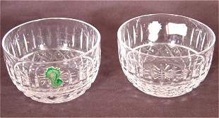 """(2) WATERFORD CRYSTAL FINGER BOWLS 4""""D"""