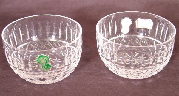"""3112: (2) WATERFORD CRYSTAL FINGER BOWLS 4""""D"""
